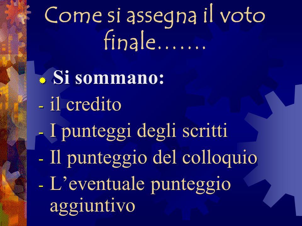 Come si assegna il voto finale…….