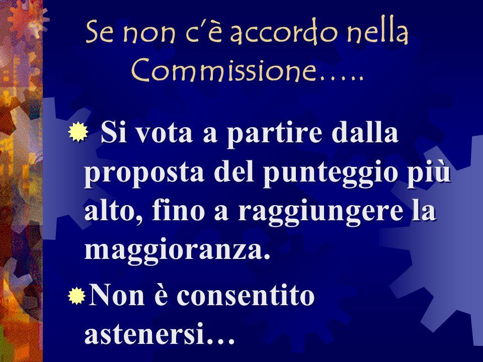 Se non c'è accordo nella Commissione…..