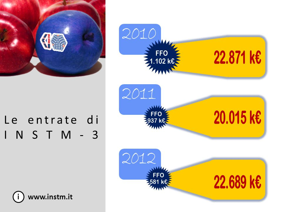 Le entrate di INSTM-3 2010 2011 2012 i www.instm.it FFO 1.102 k€