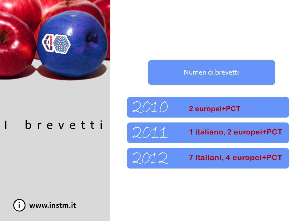 I brevetti 2010 2011 2012 i www.instm.it Numeri di brevetti