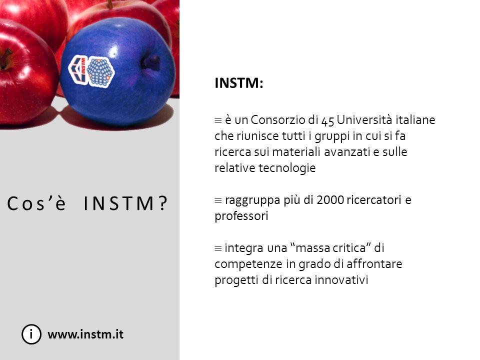 INSTM: è un Consorzio di 45 Università italiane che riunisce tutti i gruppi in cui si fa ricerca sui materiali avanzati e sulle relative tecnologie.