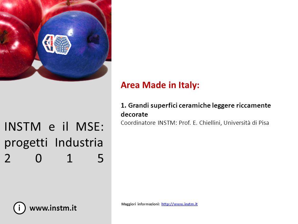 INSTM e il MSE: progetti Industria 2015 Area Made in Italy: