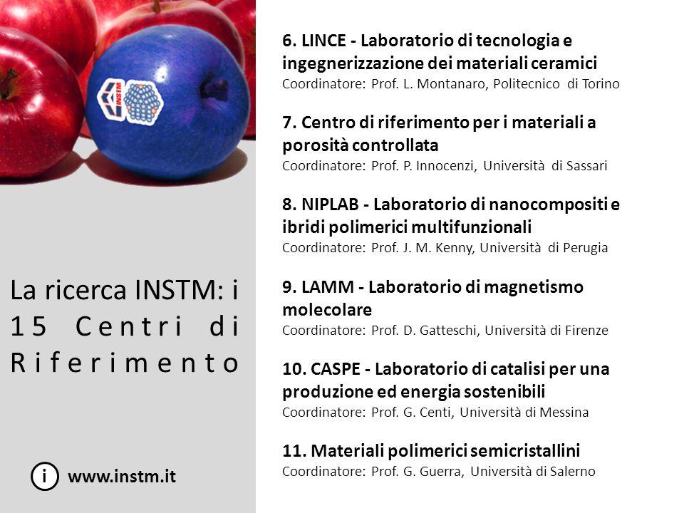 La ricerca INSTM: i 15 Centri di Riferimento