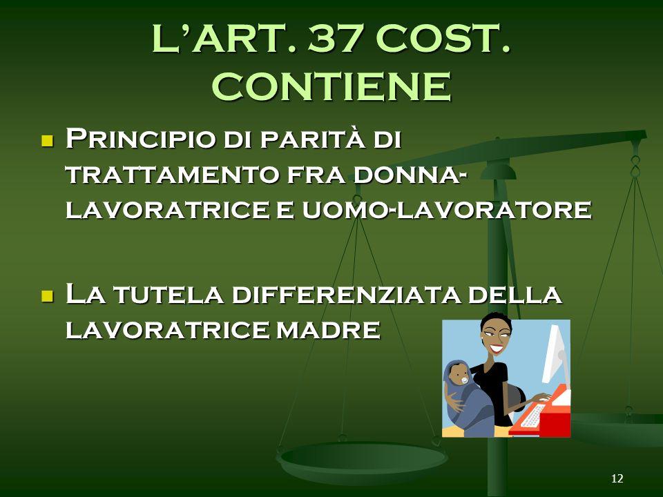 L'ART. 37 COST. CONTIENEPrincipio di parità di trattamento fra donna-lavoratrice e uomo-lavoratore.