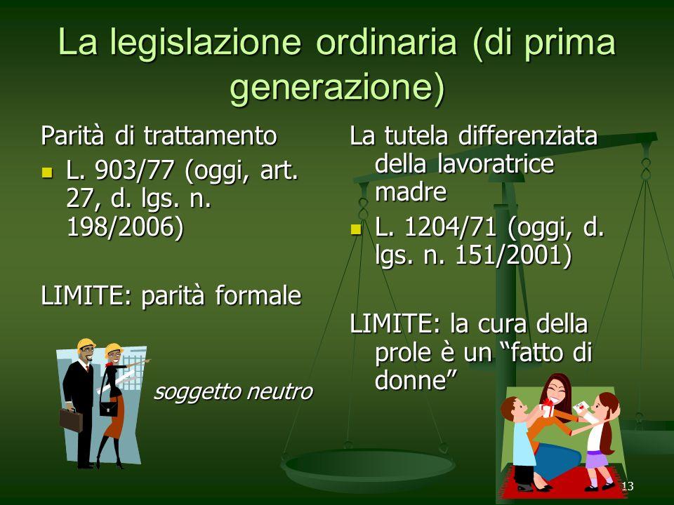 La legislazione ordinaria (di prima generazione)