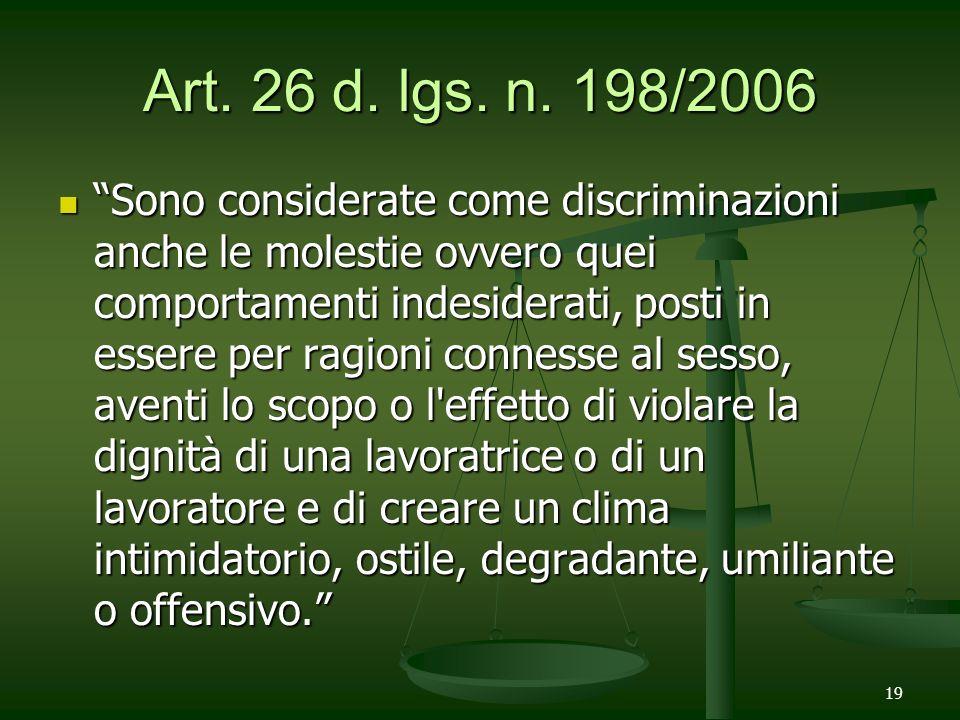 Art. 26 d. lgs. n. 198/2006