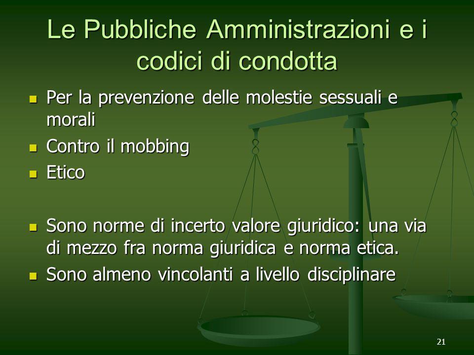 Le Pubbliche Amministrazioni e i codici di condotta