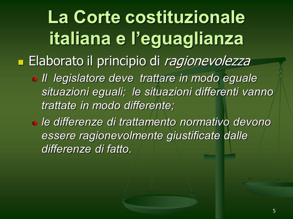 La Corte costituzionale italiana e l'eguaglianza