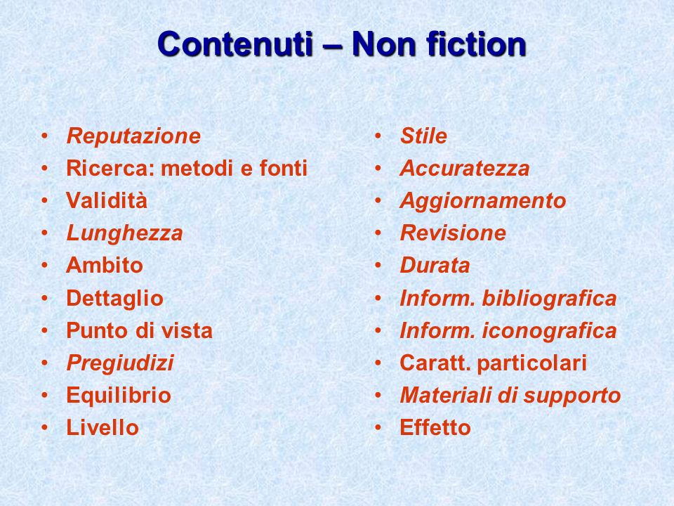 Contenuti – Non fiction