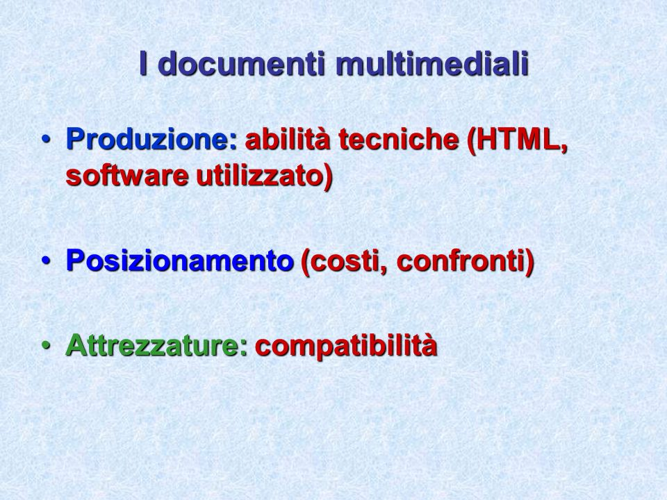 I documenti multimediali