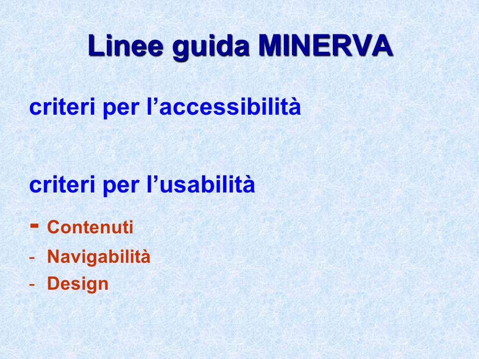 Linee guida MINERVA - Contenuti criteri per l'accessibilità