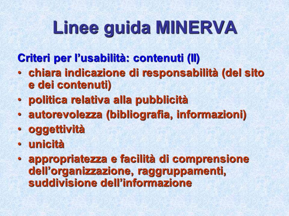 Linee guida MINERVA Criteri per l'usabilità: contenuti (II)