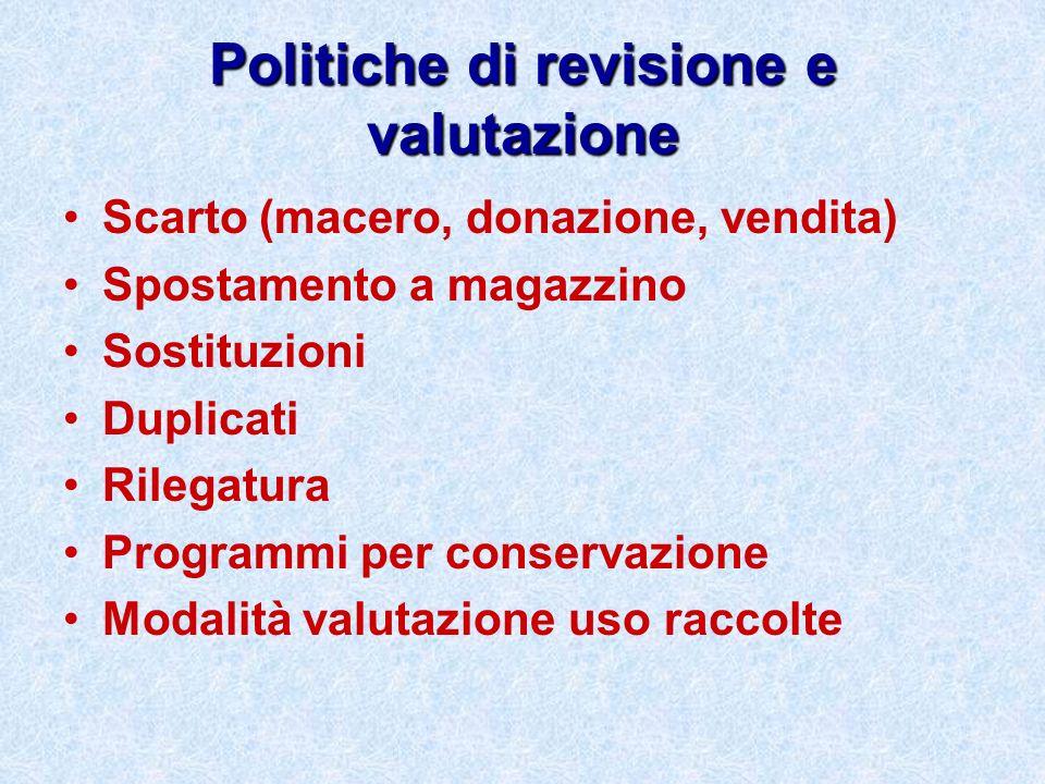 Politiche di revisione e valutazione