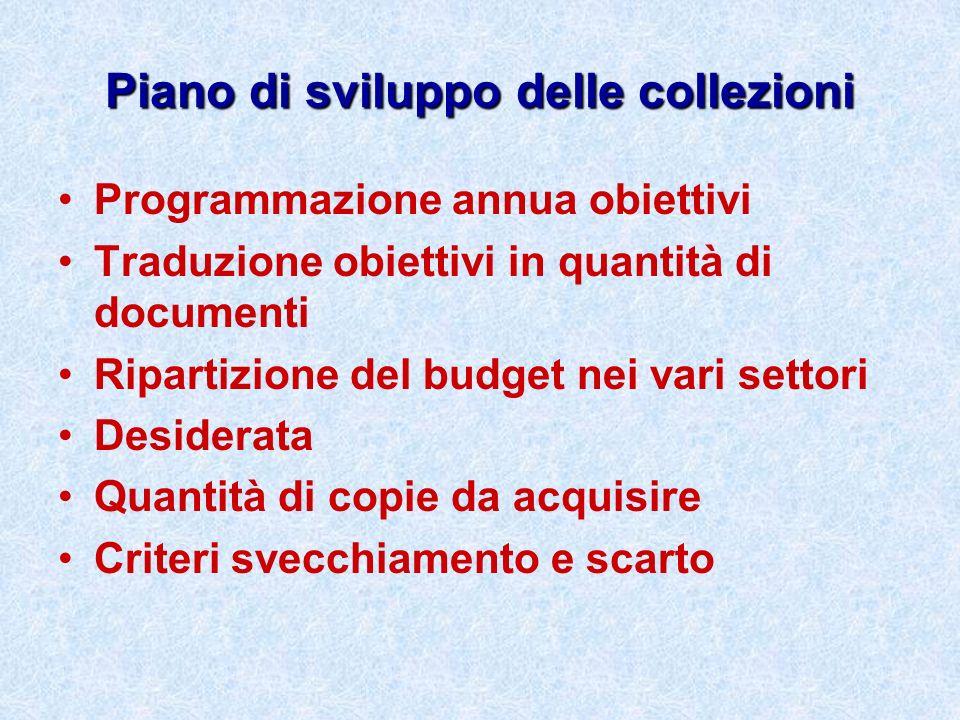 Piano di sviluppo delle collezioni