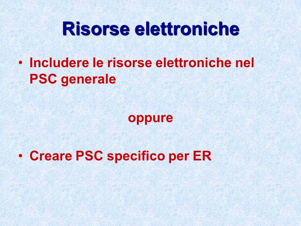Risorse elettronicheIncludere le risorse elettroniche nel PSC generale.