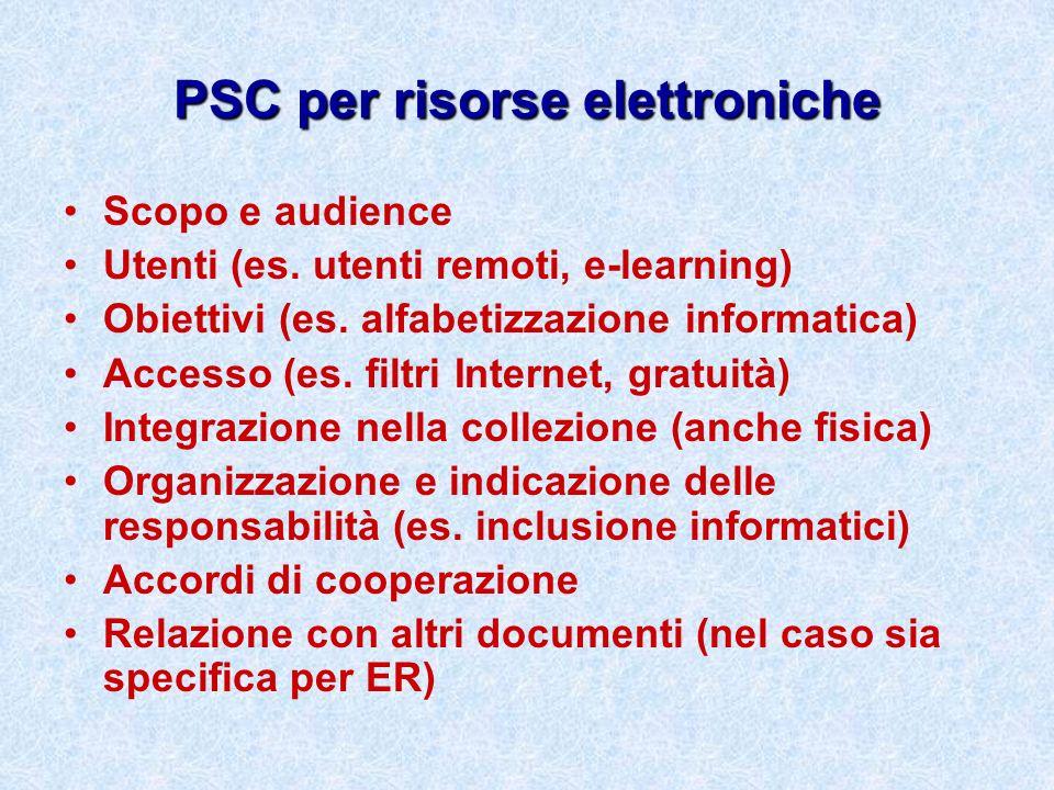 PSC per risorse elettroniche
