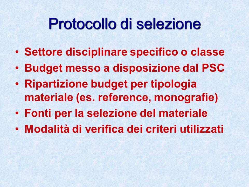Protocollo di selezione