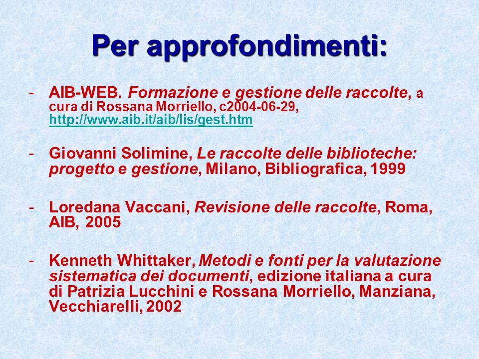 Per approfondimenti:AIB-WEB. Formazione e gestione delle raccolte, a cura di Rossana Morriello, c2004-06-29, http://www.aib.it/aib/lis/gest.htm.