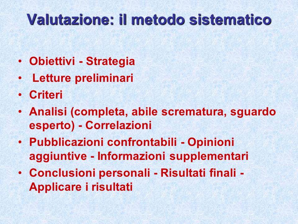 Valutazione: il metodo sistematico