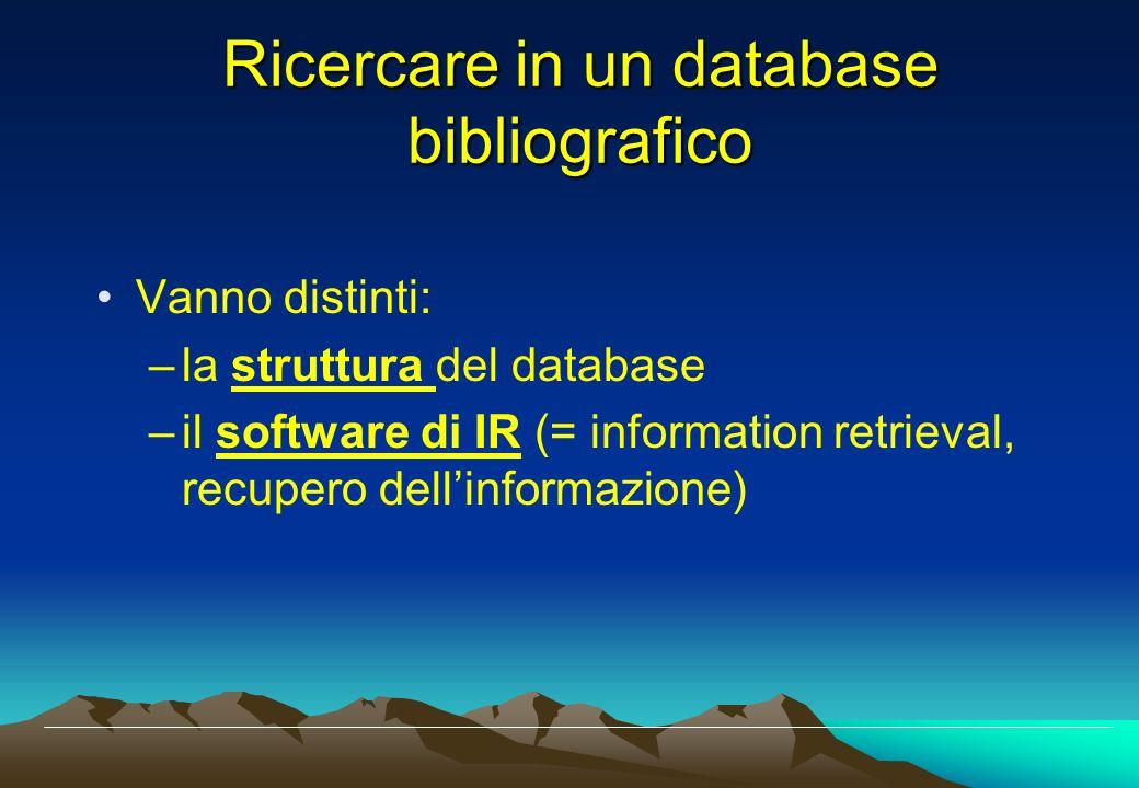 Ricercare in un database bibliografico