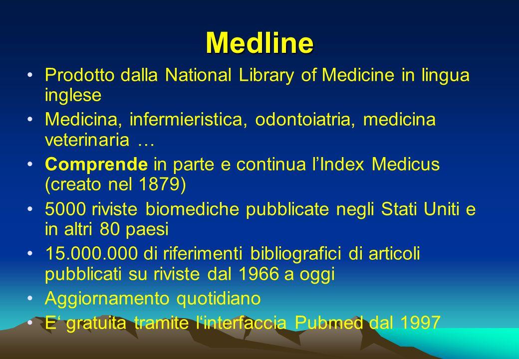 Medline Prodotto dalla National Library of Medicine in lingua inglese