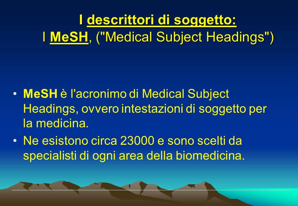 I descrittori di soggetto: I MeSH, ( Medical Subject Headings )