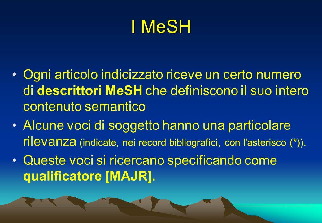 I MeSH Ogni articolo indicizzato riceve un certo numero di descrittori MeSH che definiscono il suo intero contenuto semantico.