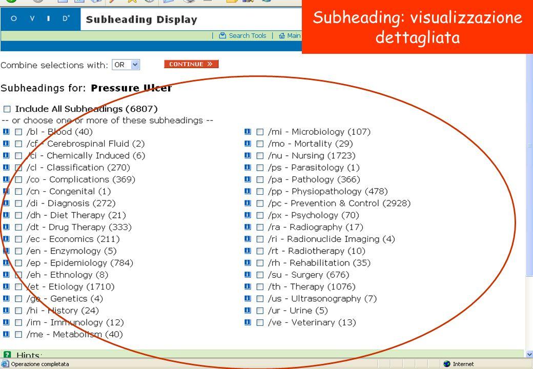 Subheading: visualizzazione dettagliata