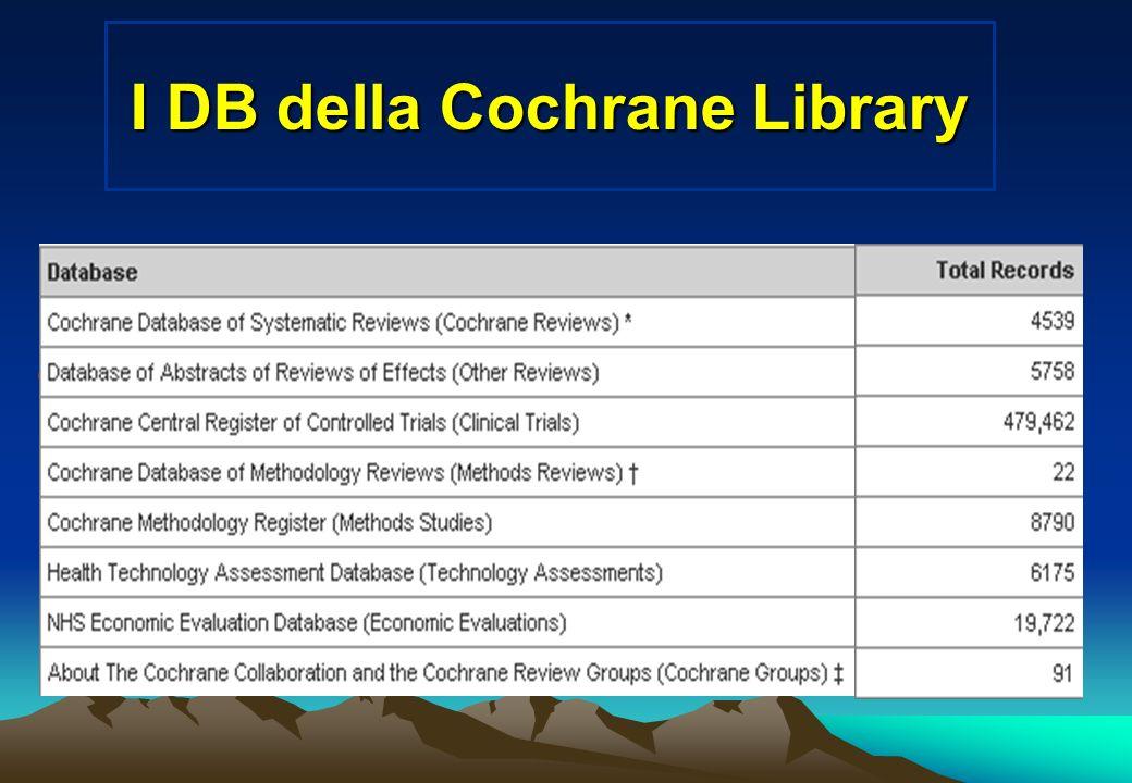 I DB della Cochrane Library