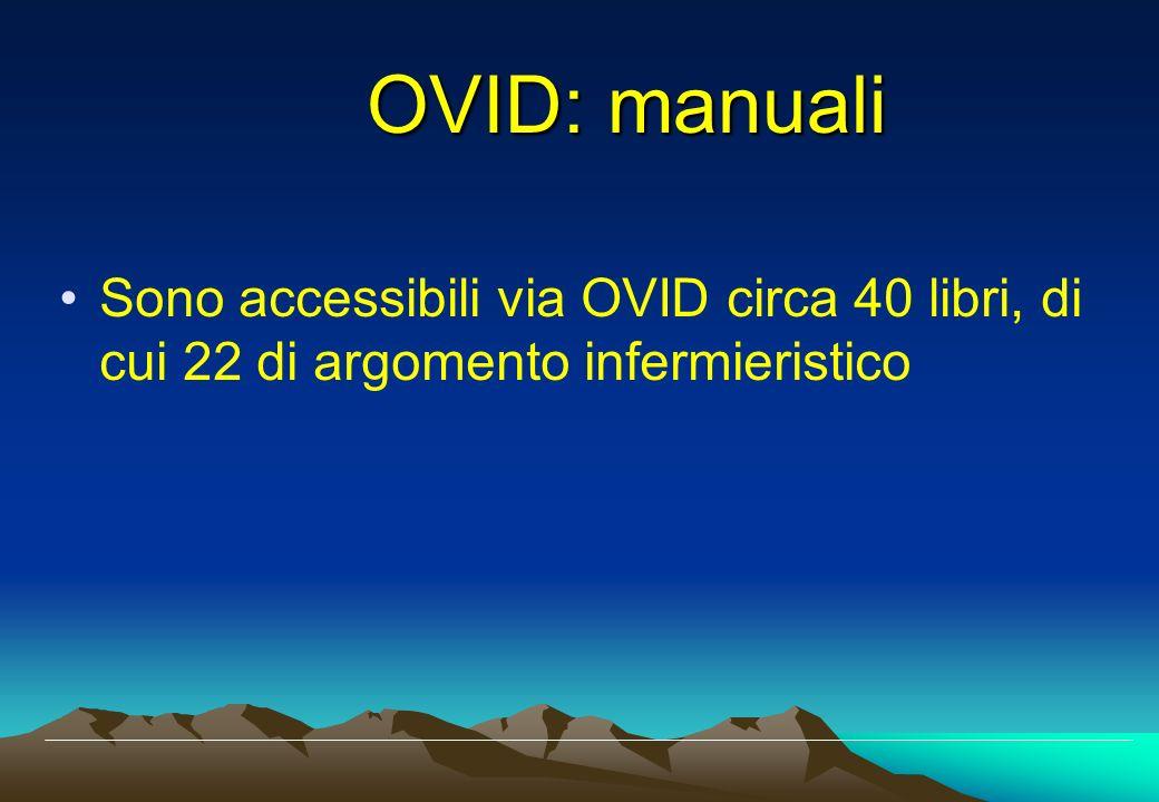OVID: manuali Sono accessibili via OVID circa 40 libri, di cui 22 di argomento infermieristico