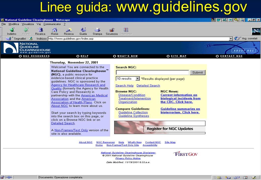 Linee guida: www.guidelines.gov