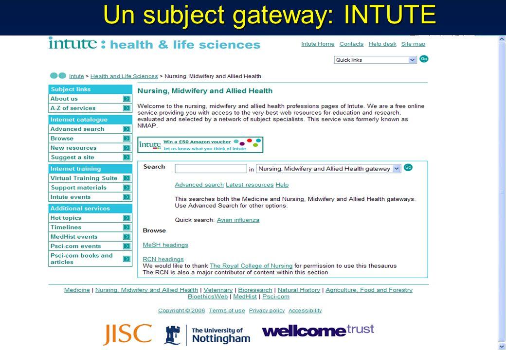Un subject gateway: INTUTE