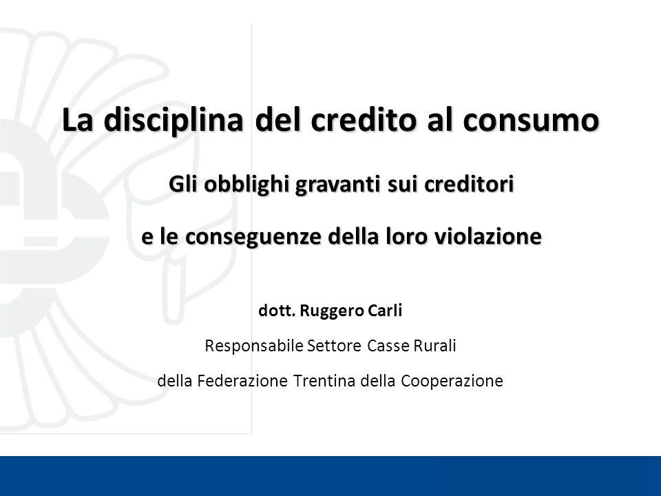 La disciplina del credito al consumo