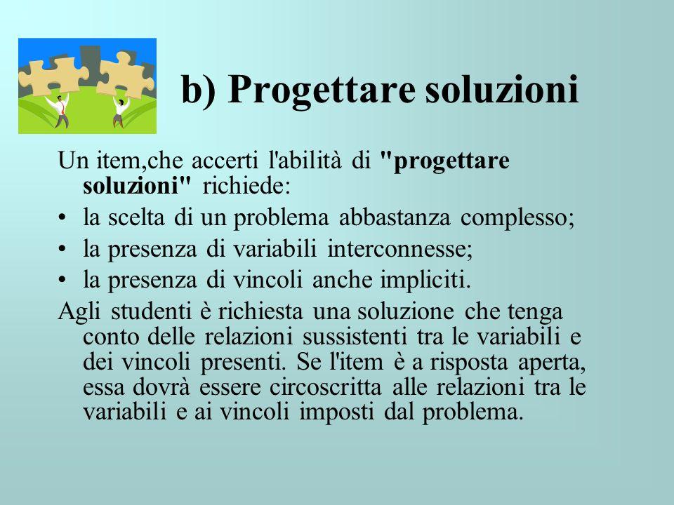 b) Progettare soluzioni
