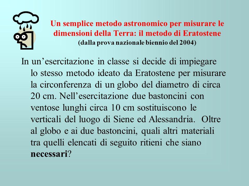 Un semplice metodo astronomico per misurare le dimensioni della Terra: il metodo di Eratostene (dalla prova nazionale biennio del 2004)