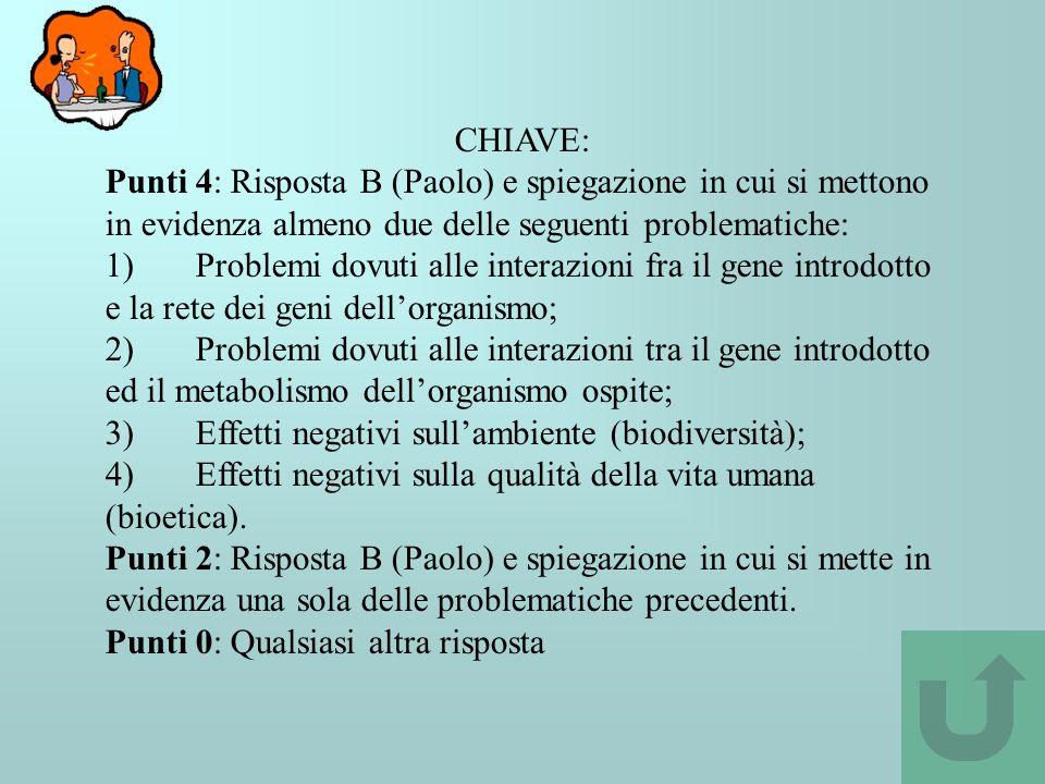 CHIAVE: Punti 4: Risposta B (Paolo) e spiegazione in cui si mettono in evidenza almeno due delle seguenti problematiche: