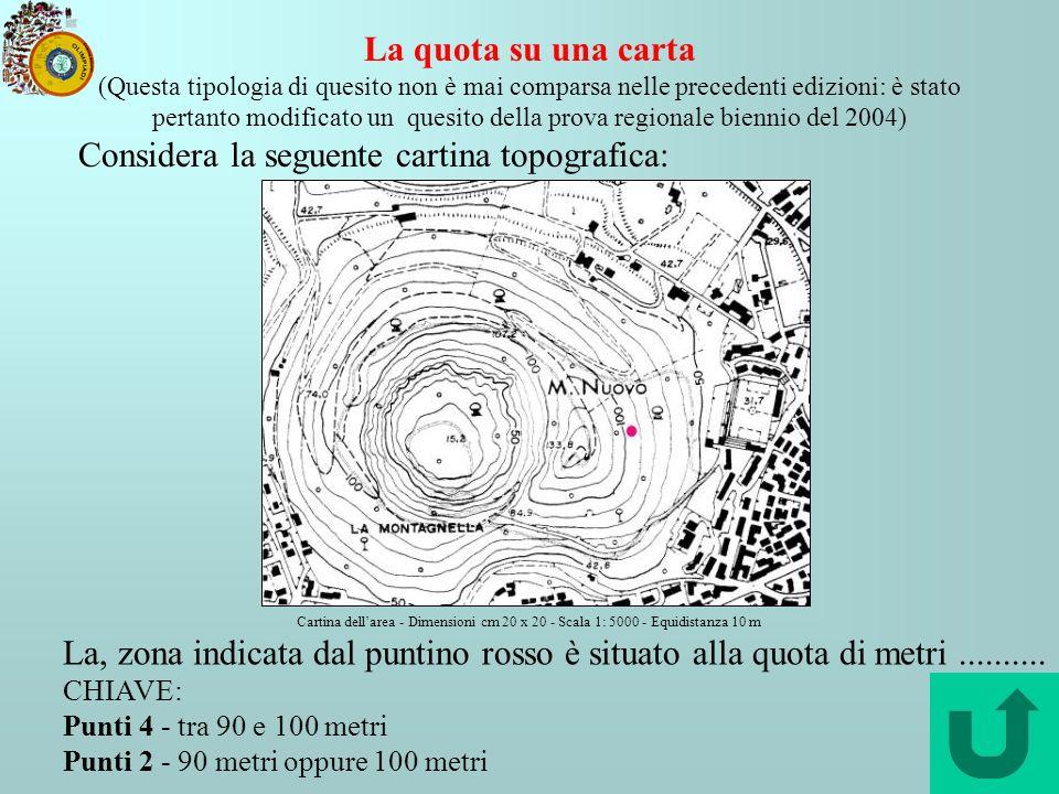 Considera la seguente cartina topografica: