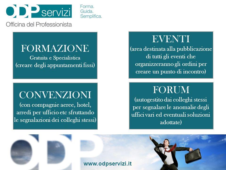 EVENTI FORMAZIONE FORUM CONVENZIONI (area destinata alla pubblicazione