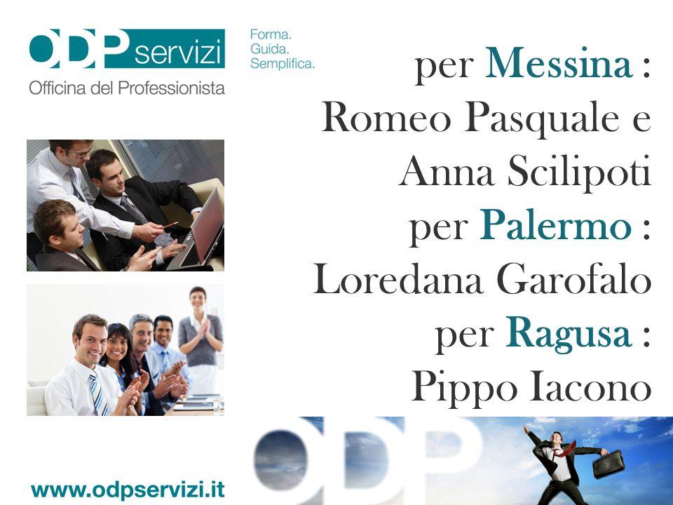 per Messina : Romeo Pasquale e Anna Scilipoti. per Palermo : Loredana Garofalo.