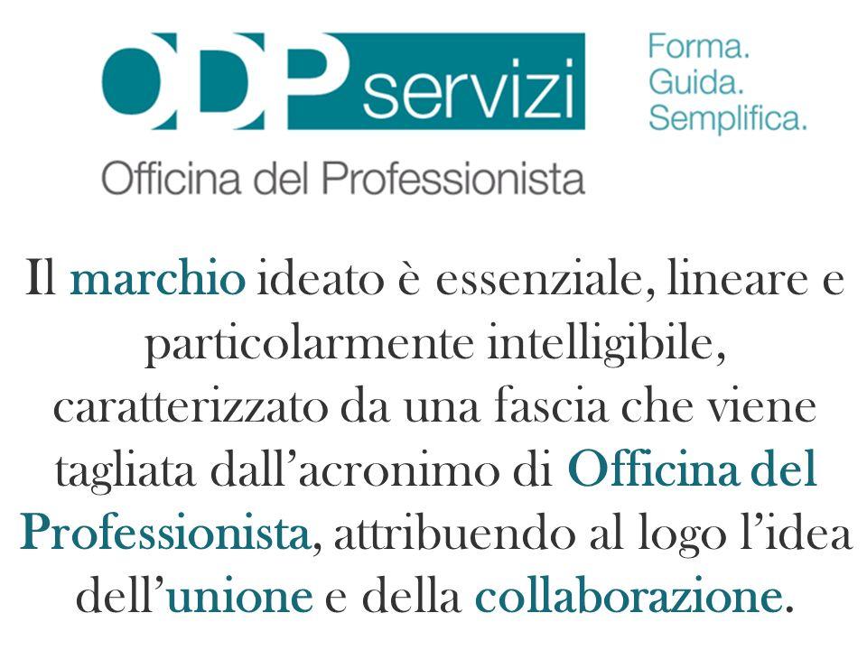 Il marchio ideato è essenziale, lineare e particolarmente intelligibile, caratterizzato da una fascia che viene tagliata dall'acronimo di Officina del Professionista, attribuendo al logo l'idea dell'unione e della collaborazione.