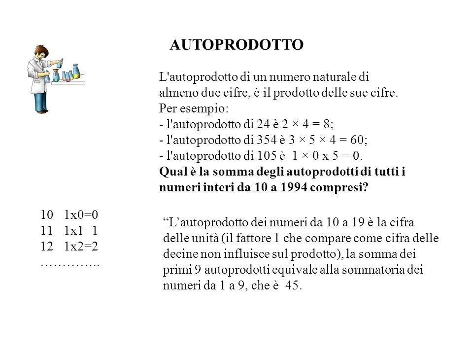 AUTOPRODOTTO L autoprodotto di un numero naturale di almeno due cifre, è il prodotto delle sue cifre. Per esempio: