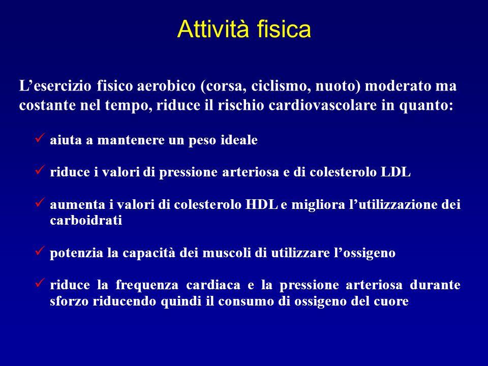 Attività fisica L'esercizio fisico aerobico (corsa, ciclismo, nuoto) moderato ma costante nel tempo, riduce il rischio cardiovascolare in quanto: