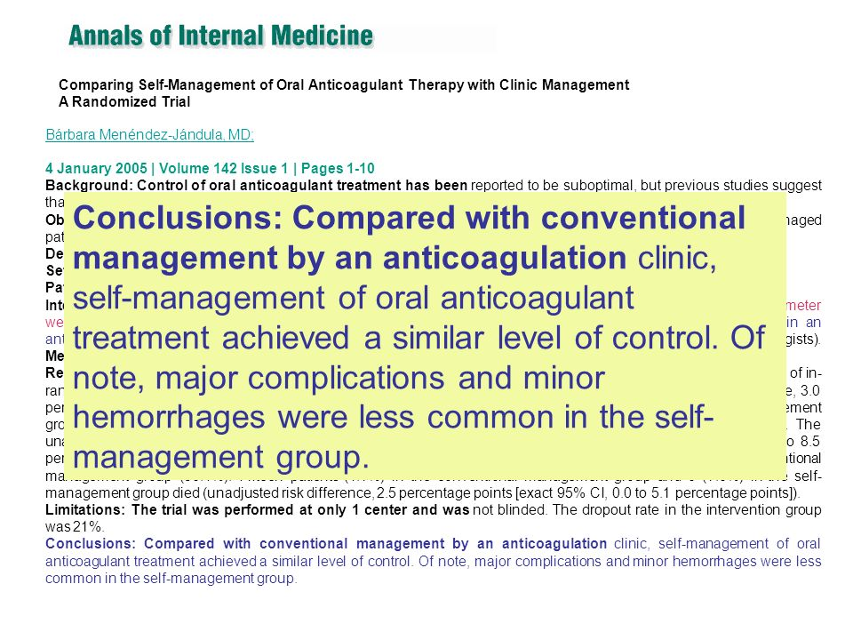 Comparing Self-Management of Oral Anticoagulant Therapy with Clinic Management