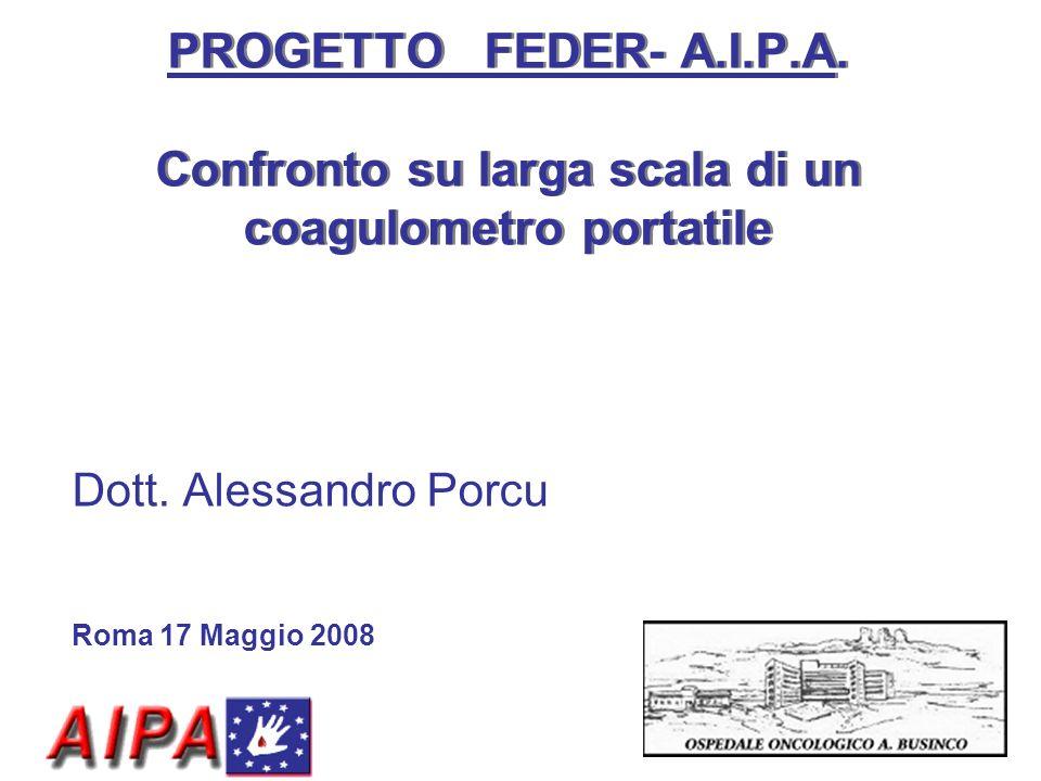 PROGETTO FEDER- A.I.P.A. Confronto su larga scala di un coagulometro portatile