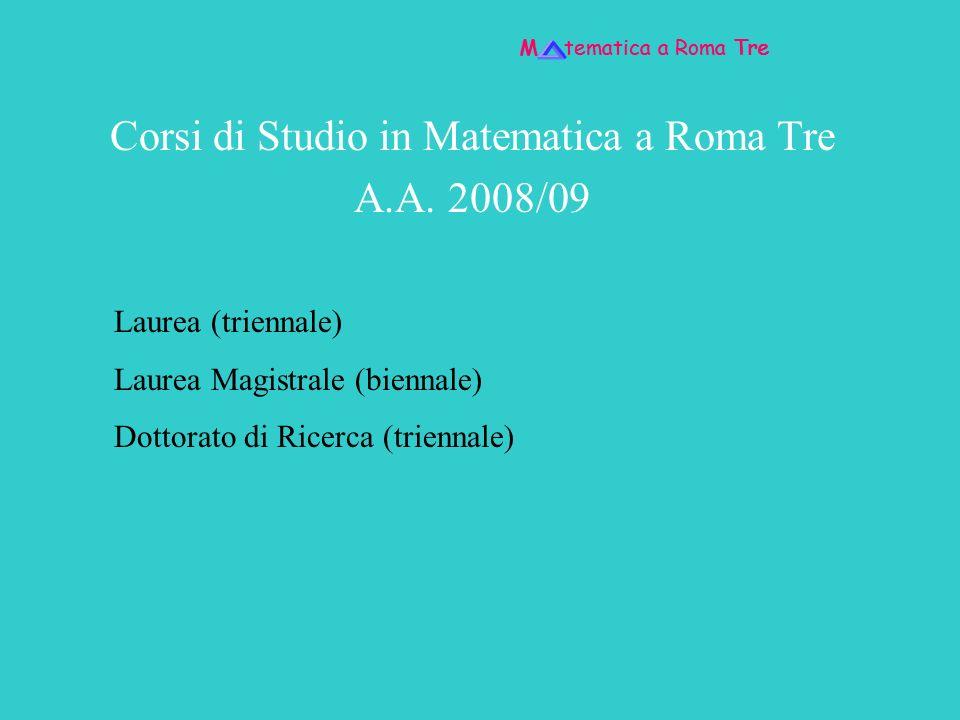 Corsi di Studio in Matematica a Roma Tre A.A. 2008/09
