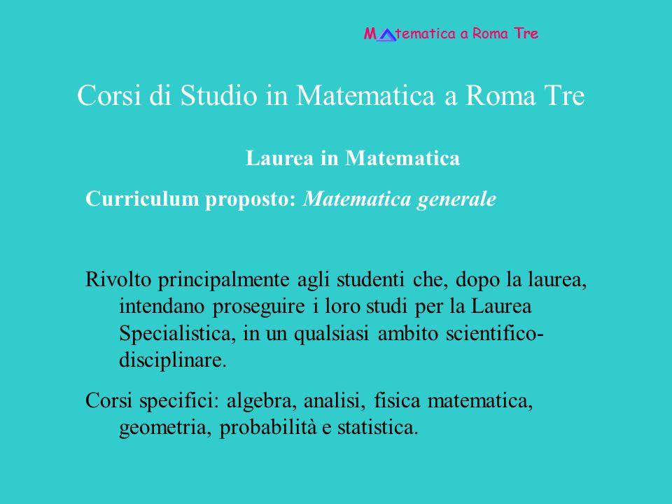 Corsi di Studio in Matematica a Roma Tre