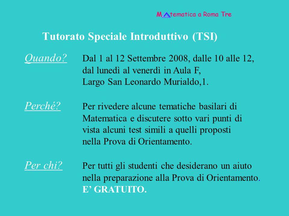 Tutorato Speciale Introduttivo (TSI)