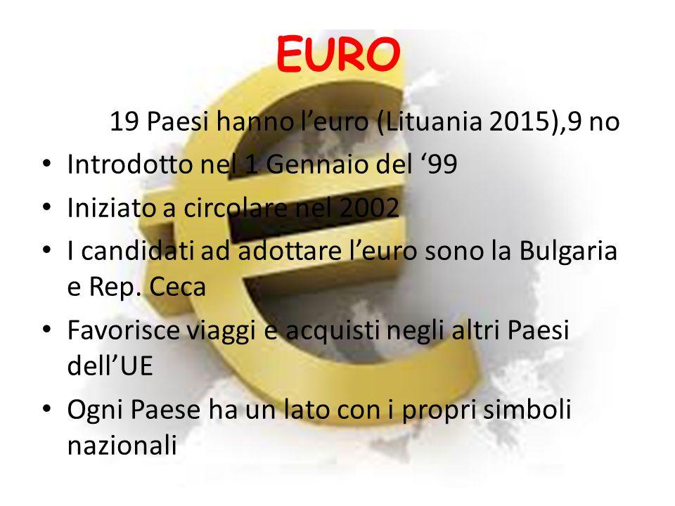 EURO 19 Paesi hanno l'euro (Lituania 2015),9 no