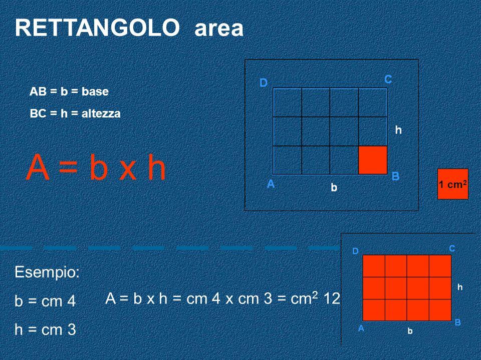 A = b x h RETTANGOLO area Esempio: b = cm 4 h = cm 3