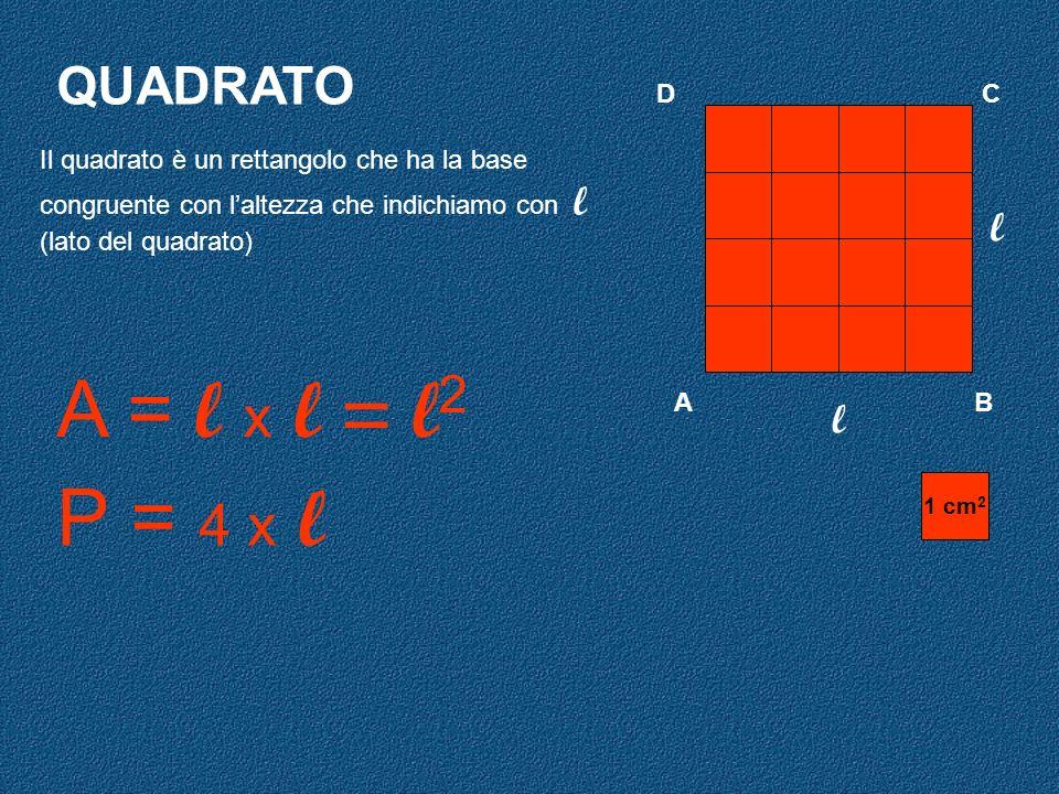 A = l x l = l2 P = 4 x l QUADRATO l l D C